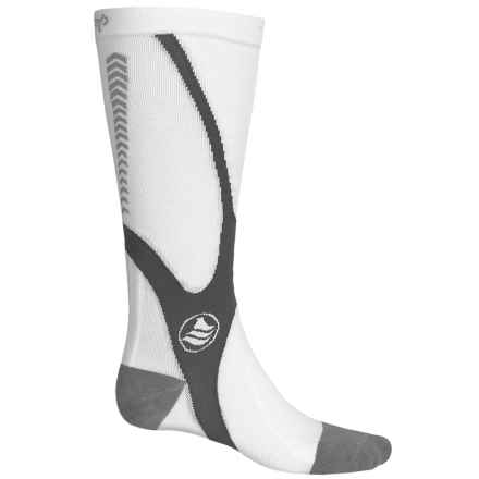 Powerstep Recovery Compression Socks - Over the Calf (For Men) in White/Gray - Closeouts