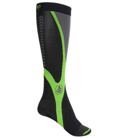 Powerstep Recovery Compression Socks - Over the Calf (For Women) in Black/Green - Closeouts