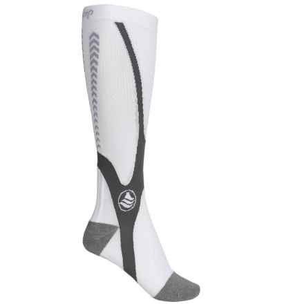 Powerstep Recovery Compression Socks - Over the Calf (For Women) in White/Gray - Closeouts