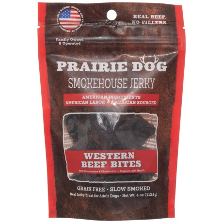 Prairie Dog Beef Jerky Bites Dog Treats - 4 oz. in Beef