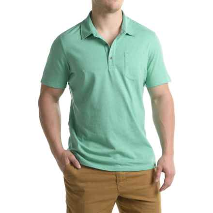 prAna Adder Polo Shirt - Organic Cotton Blend, Short Sleeve (For Men) in Aquamarine - Closeouts