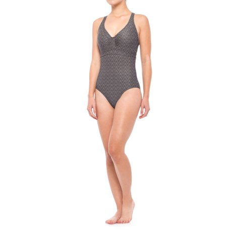 prAna Aelyn One-Piece Swimsuit - UPF 50+, Underwire (For Women) in Charcoal Compass