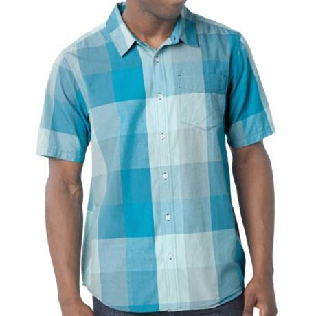 prAna Brighton Shirt - Organic Cotton, Short Sleeve (For Men) in Baja Blue