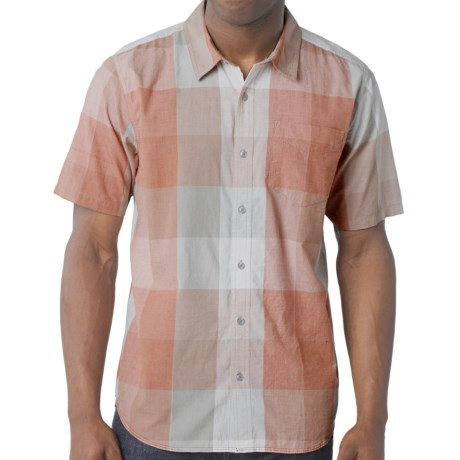 prAna Brighton Shirt - Organic Cotton, Short Sleeve (For Men) in Fog