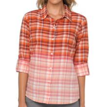 prAna Britt Plaid Shirt - Organic Cotton, Long Sleeve (For Women) in Electric Orange - Closeouts