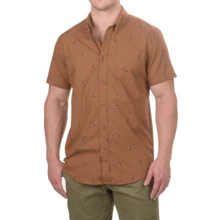 prAna Broderick Slim Fit Shirt - Organic Cotton, Short Sleeve (For Men) in Tree Bark - Closeouts