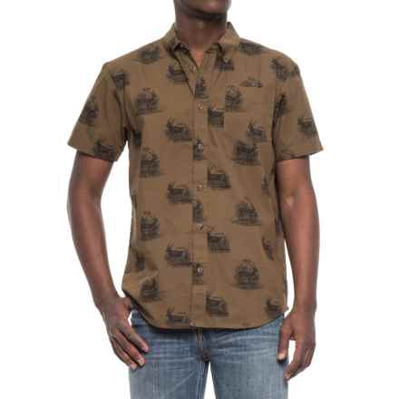 prAna Broderick Woven Shirt - Organic Cotton, Short Sleeve (For Men) in Hazel - Closeouts