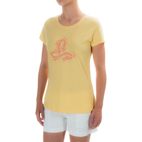prAna Climbing T-Shirt - Organic Cotton Blend, Short Sleeve (For Women) in Sunrise Logo