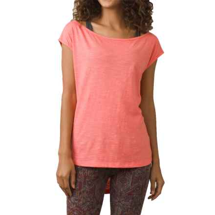 prAna Constance Shirt - Organic Cotton, Short Sleeve (For Women) in Summer Peach - Closeouts