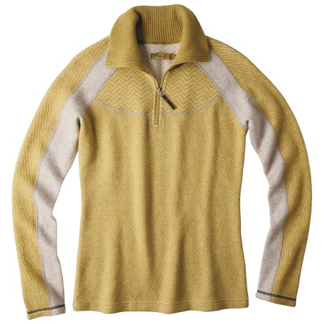 prAna Corrine Sweater - Zip Neck, Wool Blend (For Women) in Agave
