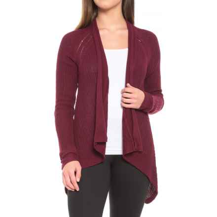 prAna Diamond Cardigan Sweater - Hemp-Organic Cotton (For Women) in Burgundy - Closeouts