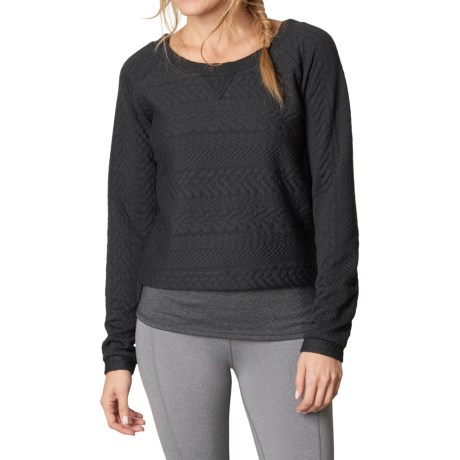 prAna Dimension Crop Top - Long Sleeve (For Women) in Black