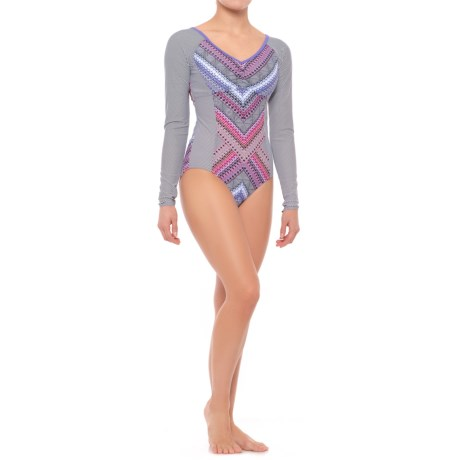 prAna Dreaming One-Piece Bodysuit - UPF 50+, Removable Padded Cups, Long Sleeve (For Women) in Cosmo Pink Riviera