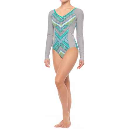 prAna Dreaming One-Piece Bodysuit - UPF 50+, Removable Padded Cups, Long Sleeve (For Women) in Emerald Riviera - Closeouts