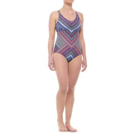 prAna Dreaming One-Piece Swimsuit - UPF 50+, Built-In Bra (For Women) in Cosmo Pink Riviera - Closeouts
