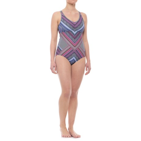 prAna Dreaming One-Piece Swimsuit - UPF 50+, Built-In Bra (For Women) in Cosmo Pink Riviera