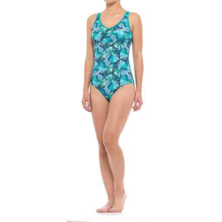 prAna Dreaming One-Piece Swimsuit - UPF 50+, Built-In Bra (For Women) in Emerald Pinwheel - Closeouts