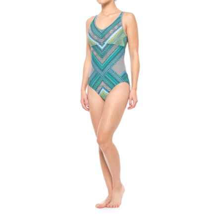 prAna Dreaming One-Piece Swimsuit - UPF 50+, Built-In Bra (For Women) in Emerald Riviera - Closeouts