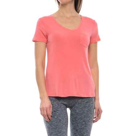 prAna Foundation Shirt - Stretch Modal, Short Sleeve (For Women) in Summer Peach - Closeouts