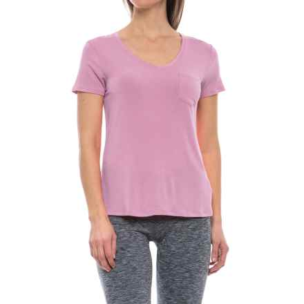 prAna Foundation Shirt - Stretch Modal, Short Sleeve (For Women) in Wild Orchid - Closeouts