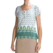 prAna Gigi Peasant Shirt - Cotton-Silk, Short Sleeve (For Women) in Hydro - Closeouts