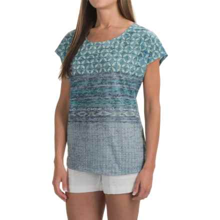 prAna Harlene Shirt - Organic Cotton, Short Sleeve (For Women) in Mood Indigo Milos - Closeouts