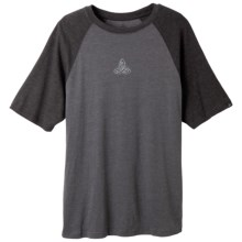 prAna Heathered Raglan T-Shirt - Short Sleeve (For Men) in Charcoal Evolution - Closeouts