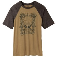prAna Heathered Raglan T-Shirt - Short Sleeve (For Men) in Dull Gold Namaste - Closeouts