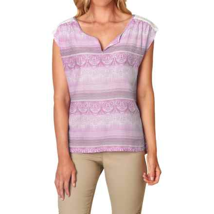 prAna Illian Organic Cotton-Silk Shirt - Short Sleeve (For Women) in True Orchid - Closeouts