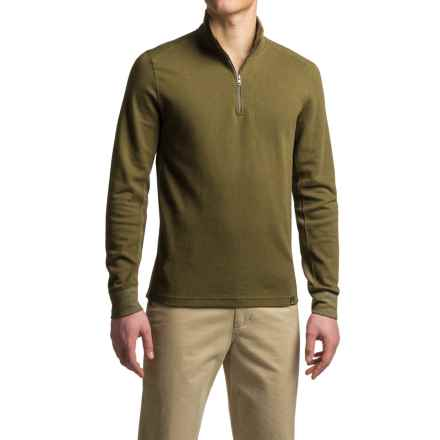 prAna Irwin Organic Cotton Shirt - Zip Neck, Long Sleeve (For Men) in Dark Olive - Closeouts