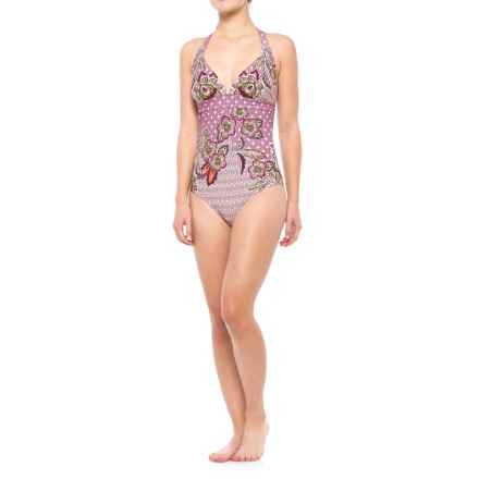 prAna Lahari One-Piece Swimsuit - UPF 50 (For Women) in Cosmo Pink Fleur D Amour - Closeouts