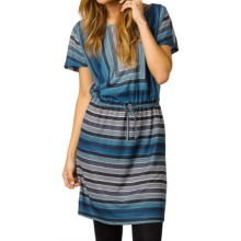 prAna Lindy Dress - Short Sleeve (For Women) in Mosaic Blue - Closeouts
