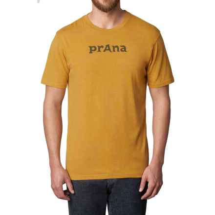 prAna Logo T-Shirt - Organic Cotton, Short Sleeve (For Men) in Marigold - Closeouts