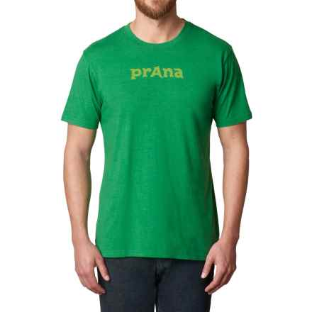 prAna Logo T-Shirt - Organic Cotton, Short Sleeve (For Men) in Peacock Eye - Closeouts