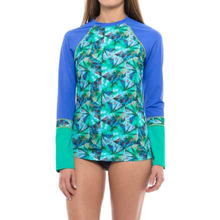 prAna Lorelei Rash Guard - UPF 50+, Long Sleeve (For Women) in Emerald Pinwheel - Closeouts