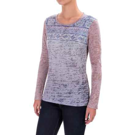 prAna Lottie Burnout Shirt - Long Sleeve (For Women) in Gull - Closeouts