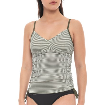 1596410288 prAna Moorea Tankini Top - UPF 50+ (For Women) in Cargo Green Stripe