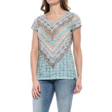 prAna Portfolio Shirt - Organic Cotton, Short Sleeve (For Women) in Bora Bay Gatsby - Closeouts