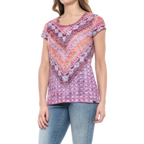 prAna Portfolio Shirt - Organic Cotton, Short Sleeve (For Women) in Grapevine Gatsby