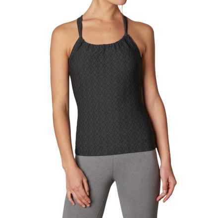 prAna Quinn Jacquard Tank Top - Built-In Shelf Bra (For Women) in Black Jacquard - Closeouts