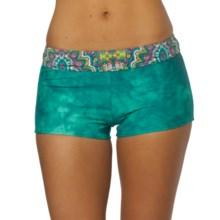 prAna Raya Swimsuit Bottoms - UPF 30+, Boy Short (For Women) in Sea Green Namaste - Closeouts
