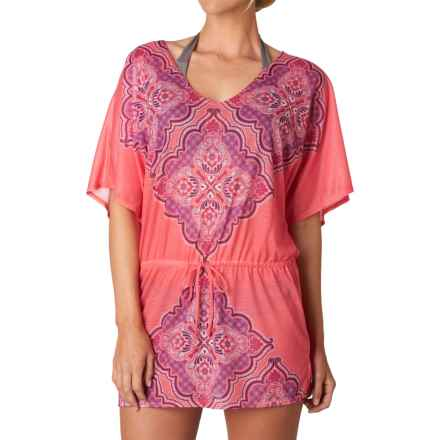 prAna Saida Kaftan Swimsuit Cover-Up - Short Sleeve (For Women) in Neon Orange Jasmine - Closeouts