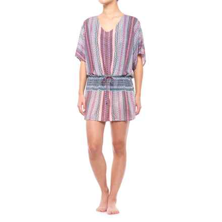 prAna Saida Kaftan Swimsuit Cover-Up - Short Sleeve (For Women) in Sunlit Coral Carnivale - Closeouts
