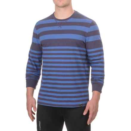 prAna Setu Crew Neck Shirt - Organic Cotton, Long Sleeve (For Men) in Cobalt Stripe - Closeouts