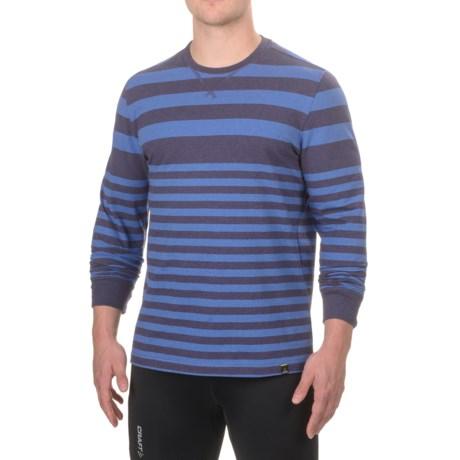 prAna Setu Crew Neck Shirt - Organic Cotton, Long Sleeve (For Men) in Cobalt Stripe