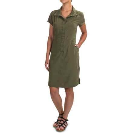 prAna Shadyn Dress - Short Sleeve (For Women) in Cargo Green - Closeouts