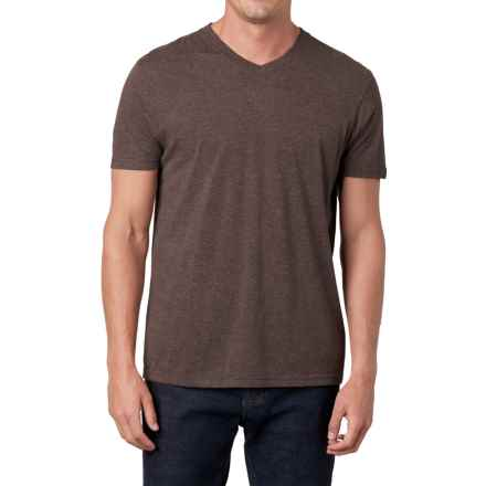 Prana V-Neck Shirt - Short Sleeve (For Men) in Brown Heather - Closeouts