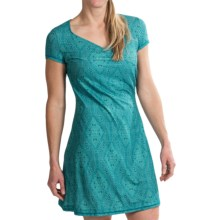 prAna Victoria Printed Dress - Short Sleeve (For Women) in Turquoise Kaleidoscope - Closeouts