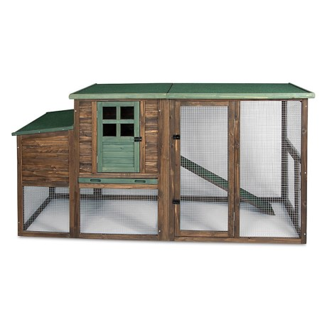 "Precision Pet Products Hen House II Chicken Coop - 78x30x41"" in Brown/Green"