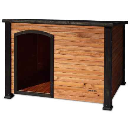 """Precision Pet Products Outback Log Cabin Dog House - 44.5x40x32.6"""" in Walnut/Dark Brown - Closeouts"""